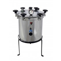 "Aluminium Mirror Finish Six Wing Nut Non-Electric Vertical Autoclave Size Approx. (21 Litres 12"" X 12"" inch) with Warranty"