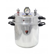 "Aluminium Mirror Finish Non - Electric Autoclave Pressure Cooker Type with Dressing Drum (9"" X 11"") 13 Litres with Warranty"