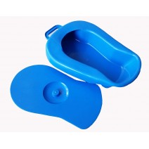 Unisex Polypropylene Bed Pan with Cover - Adult - Blue color