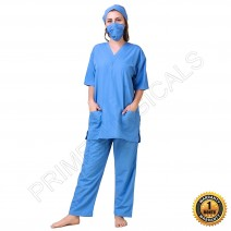Premium Unisex Cargo Type Scrub Suit • with mask and cap (Sky Blue)