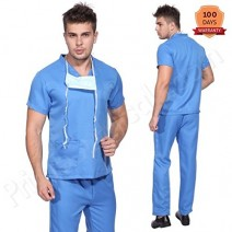 Premium Quality Unisex Scrub Suit Set (V-Neck • 3 Top pocket & Cargo trouser) • Blue