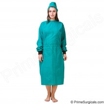Premium Quality Reusable Surgeon Gown Unisex 100% Cotton Green Color 1 Set with Cap