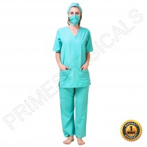 Premium Unisex Cargo Type Scrub Suit • with mask and cap (Sea Green)